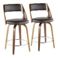 Cecina 24'' Counter Stool - Set Of 2 - Walnut Wood, Brown Pu, Chrome