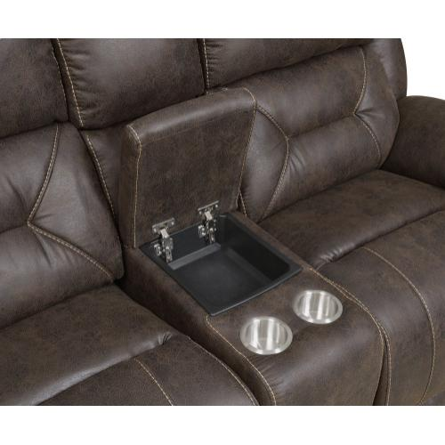 Aria Dual-Power Reclining Console Loveseat, Saddle Brown