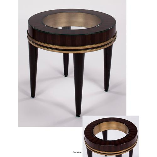 """Artmax - End Table with Glass Dia.25.5x25"""""""