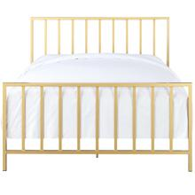 Slat Style King Metal Bed in Brushed Gold