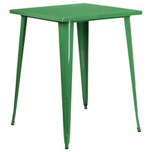 "Commercial Grade 31.5"" Square Green Metal Indoor-Outdoor Bar Height Table"