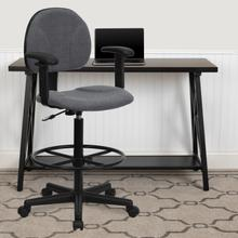 View Product - Gray Fabric Drafting Chair with Adjustable Arms (Cylinders: 22.5''-27''H or 26''-30.5''H)