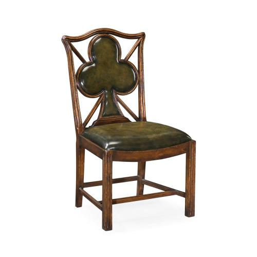 "Playing card ""Club"" side chair with medium English library green leather"