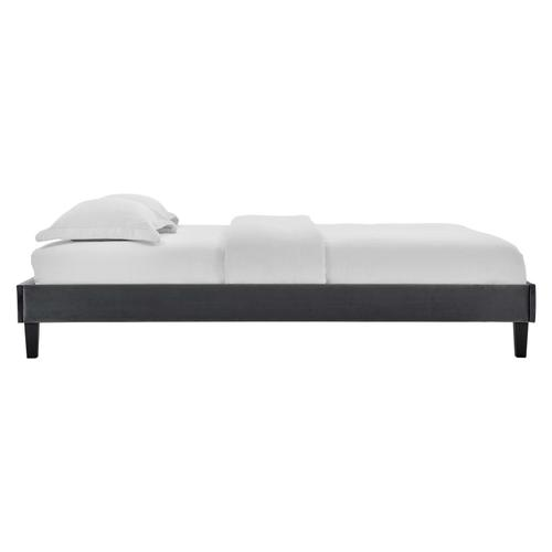 Reign King Performance Velvet Platform Bed Frame in Charcoal