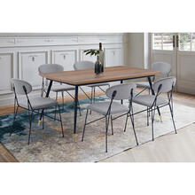 Messina and Alice Grey Velvet and Walnut 7 Piece Dining Set