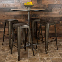 "30"" High Metal Indoor Bar Stool in Gun Metal Gray - Stackable Set of 4"