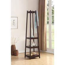 Vassen Coat Rack w/ 3-Tier Storage Shelves in Espresso Finish