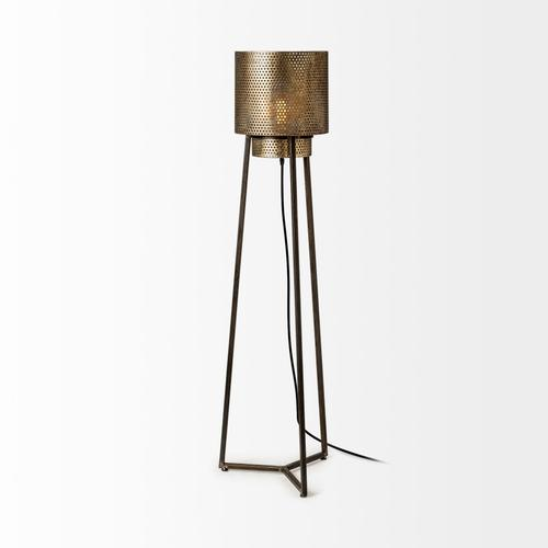 """Mercana - Chaudron II (54""""H) Black and Gold Perforated Metal Shade Floor Lamp"""