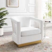 Frolick Performance Velvet Armchair in White