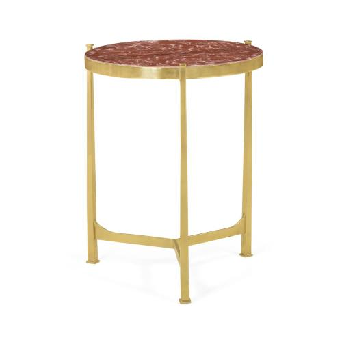 Medium Solid Brass & Red Brazil Marble Top Round Lamp Table