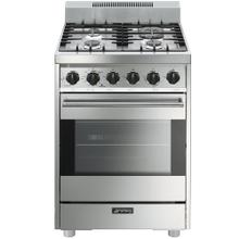 Smeg Free-Standing Gas Range Stainless Steel, 24-Inches