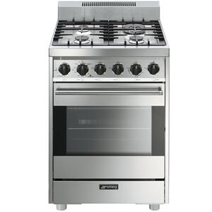 "SmegFree-Standing Gas Range, 24"", Stainless Steel"