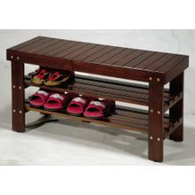 Product Image - Cherry Finish Quality Solid Wood Shoe Bench With Storage