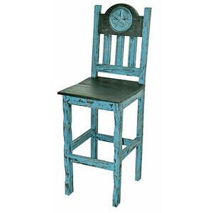 Turq. Star Scraped Wood Seat
