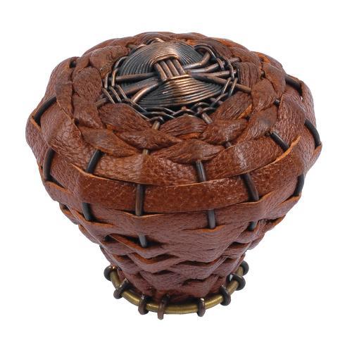 Atlas Homewares - Hamptons Saddle Leather Knob 2 Inch - Aged Bronze