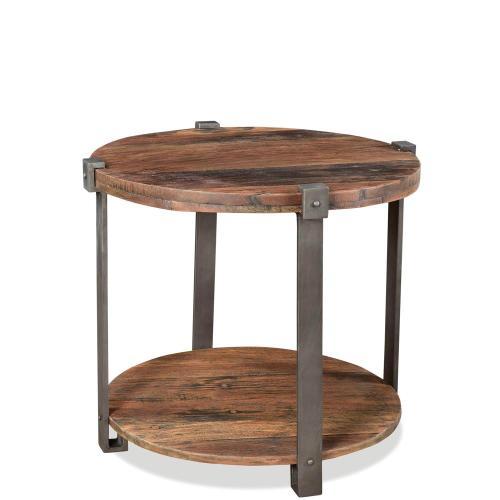 Round Side Table - Patina Wood/black Metal Finish