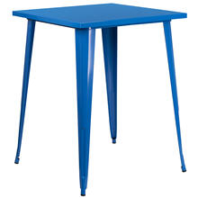 "Commercial Grade 31.5"" Square Blue Metal Indoor-Outdoor Bar Height Table"