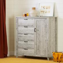 Lionel - Door Chest with 5 Drawers, Seaside Pine