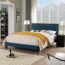 View Product - Virginia King Fabric Platform Bed with Round Splayed Legs in Azure