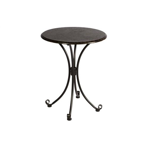 "Ponza 24"" Rnd Bistro Granite Table Top & Iron Base"