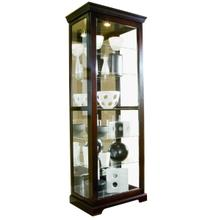 Tall 5 Shelf Curio Cabinet-Sliding Door in Cherry Brown