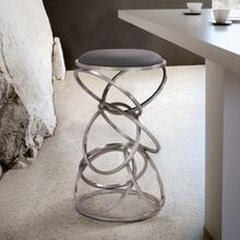 """View Product - Medley Contemporary 30"""" Bar Height Barstool in Brushed Stainless Steel Finish and Grey Faux Leather"""