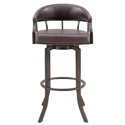 "Edy Swivel 26"" Auburn Bay and Brown Faux Leather Bar Stool"