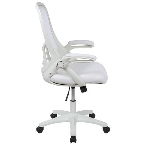 Flash Furniture - High Back White Mesh Ergonomic Swivel Office Chair with White Frame and Flip-up Arms