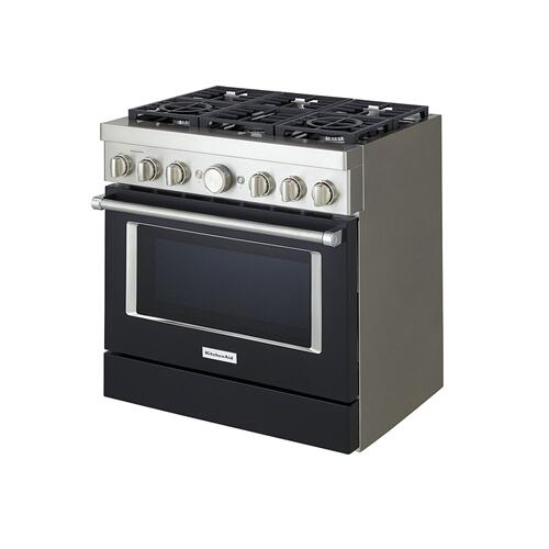 KitchenAid® 36'' Smart Commercial-Style Gas Range with 6 Burners - Imperial Black