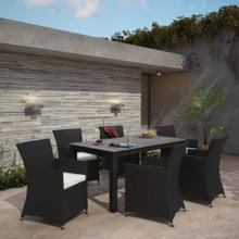 Junction 7 Piece Outdoor Patio Dining Set in Brown White