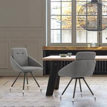 Granada Swivel Gray Fabric Dining Room Chairs - Set of 2