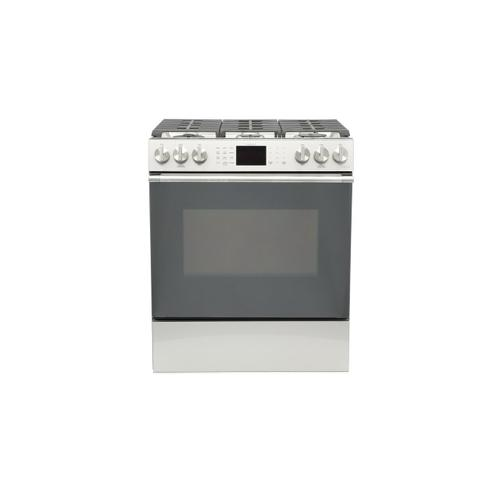 """Café™ 30"""" Smart Slide-In, Front-Control, Gas Range with Convection Oven in Platinum Glass"""