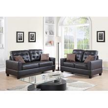 Ramla 2pc Loveseat & Sofa Set, Espresso Faux Leather