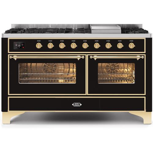 Gallery - Majestic II 60 Inch Dual Fuel Natural Gas Freestanding Range in Glossy Black with Brass Trim