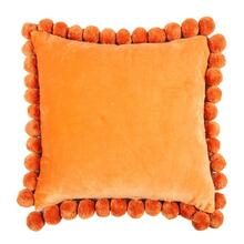 "Hamal 20"" Square Velvet Pillow with Pom Poms, Tangerine"
