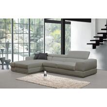Divani Casa Pella Mini Modern Taupe Leather Sectional Sofa