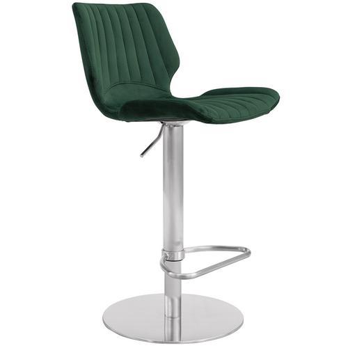Armen Living - Anika Adjustable Swivel Barstool with Brushed Stainless Steel Finish and Green Velvet