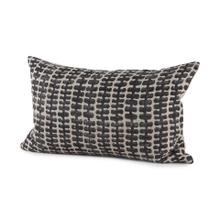 Miriam 13L x 21W Beige and Black Fabric Ikat Patterned Decorative Pillow Cover