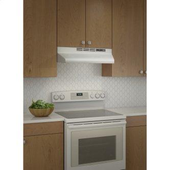 Broan™ BU2 Series 30-Inch Under-Cabinet Range Hood, 210 Max Blower CFM, White w/Black Trim