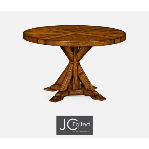 Country walnut circular dining table