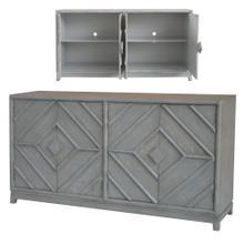 See Details - Emerson 4 Door Diamond Design Grey Oak Sideboard