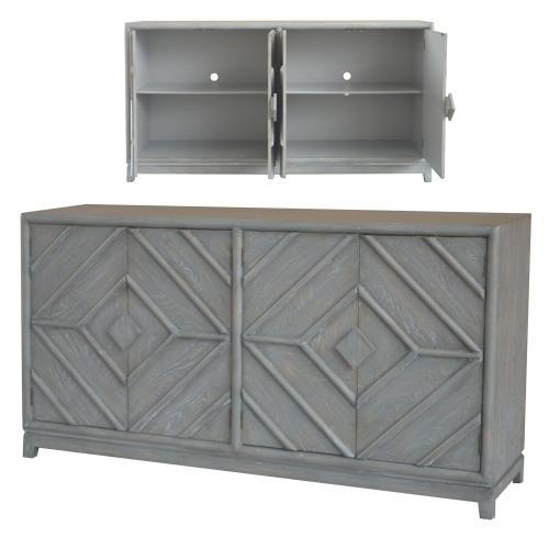 Product Image - Emerson 4 Door Diamond Design Grey Oak Sideboard