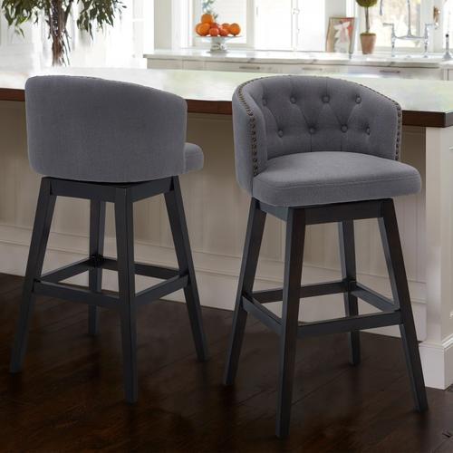 "Armen Living Celine 30"" Bar Height Barstool in Espresso Finish and Grey Fabric"