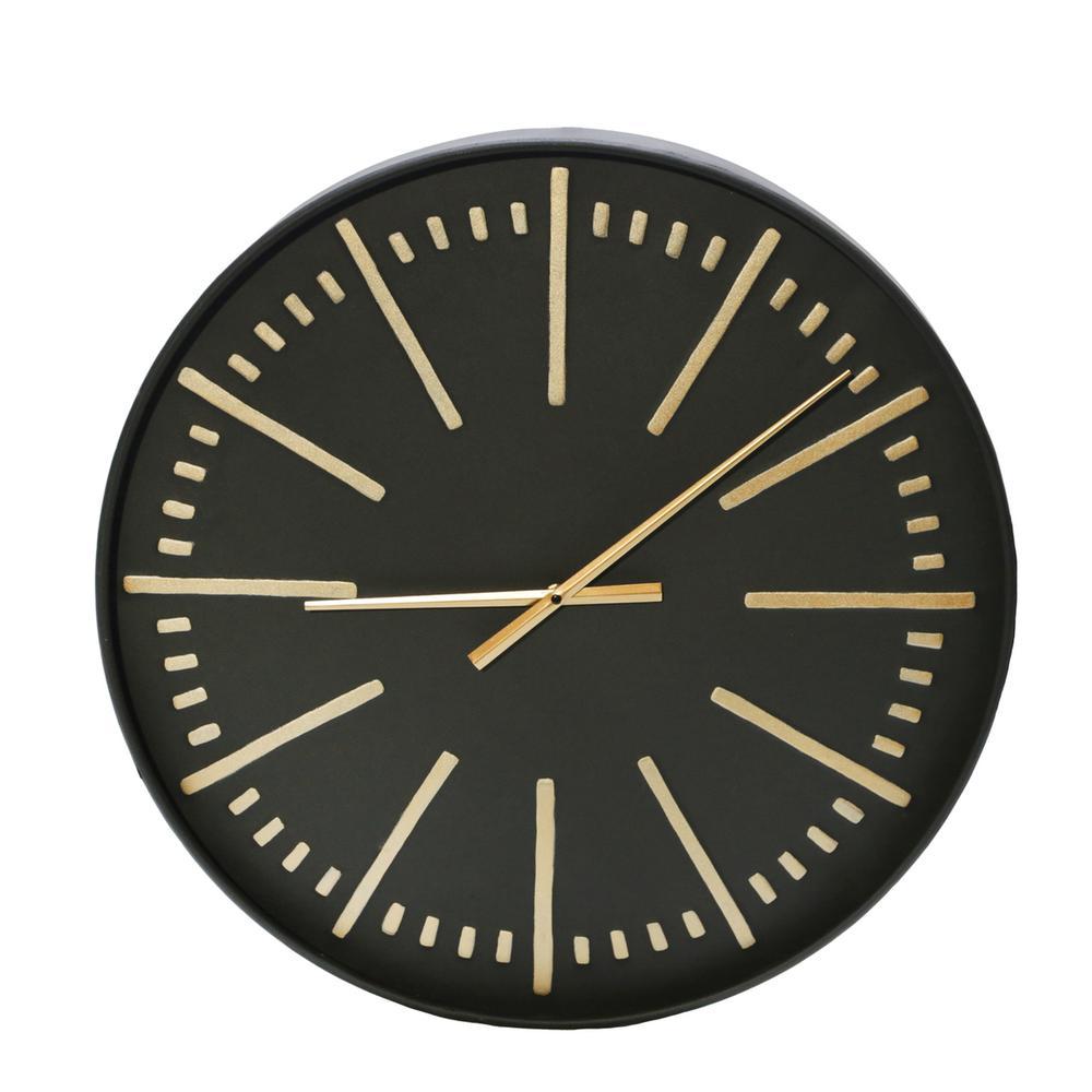 "See Details - Metal 24"" Wall Clock, Black/gold Wb"