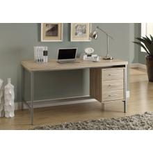 """COMPUTER DESK - 60""""L / NATURAL WITH SILVER METAL"""
