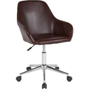 Gallery - Cortana Home and Office Mid-Back Chair in Brown LeatherSoft