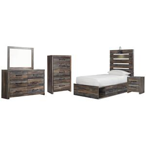 Ashley - Twin Panel Bed With 4 Storage Drawers With Mirrored Dresser, Chest and Nightstand