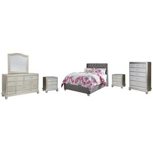 Ashley - Full Upholstered Bed With Mirrored Dresser, Chest and 2 Nightstands