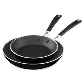 """Aluminum Nonstick 8"""" and 10"""" Skillets Twin Pack - Onyx Black"""