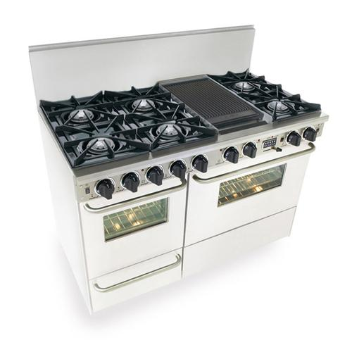 """Five Star - 48"""" Dual Fuel, Convect, Self Clean, Open Burners, White"""